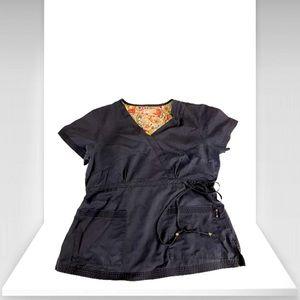 Women Katlyn Mock Wrap With Pocket Blue Scrub Top